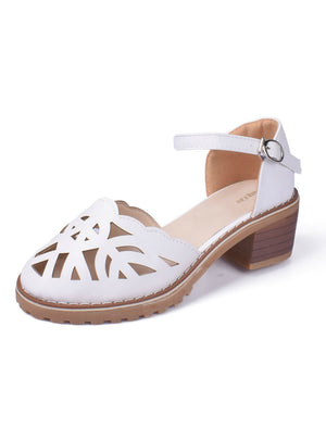 White Sandals Comfortable High Hoof Thick Heels Shoes
