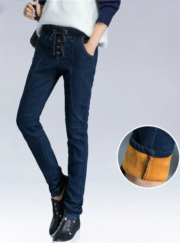 For Tall Girl Elastic Waist Boyfriend Denim Pants