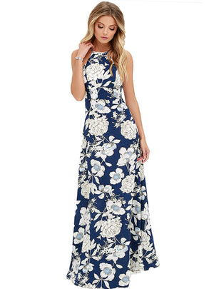 Maxi Boho Dress Halter Neck Floral Print Sleeveless