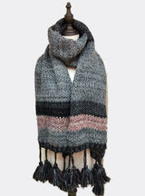 Cashmere Like Knitted Scarf Color Ball Tassels