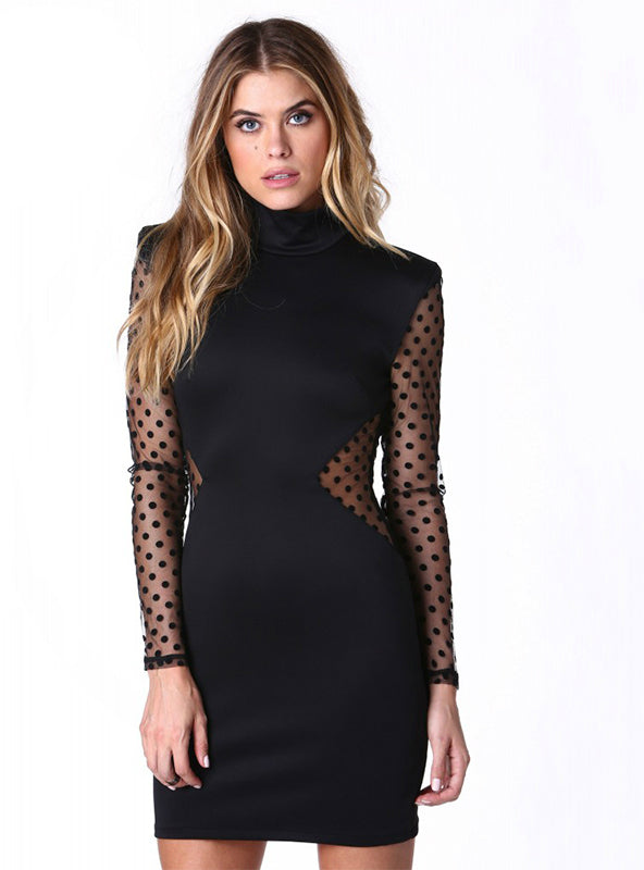 Solid Black Sheer Sexy Dress Black Long Sleeve Lace