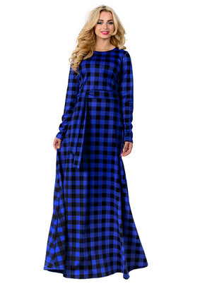 Women Dress Plus Size Maxi Plaid Long Sleeve