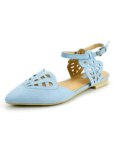 Women Flats Shoes Cover Toe Solid Shallow Buckle