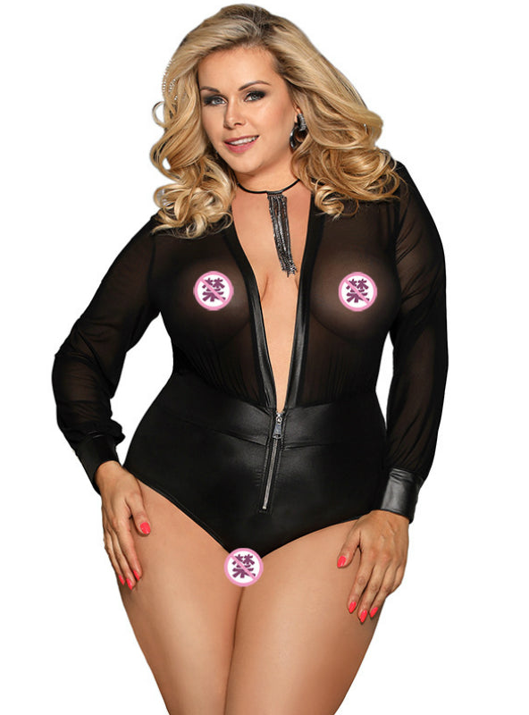 Sexy Lingerie Sexy Long Sleeve Leather Like Jumpsuit