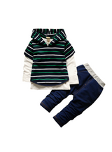 Boys Clothes hooded Vest+ T-shirt+pants Striped