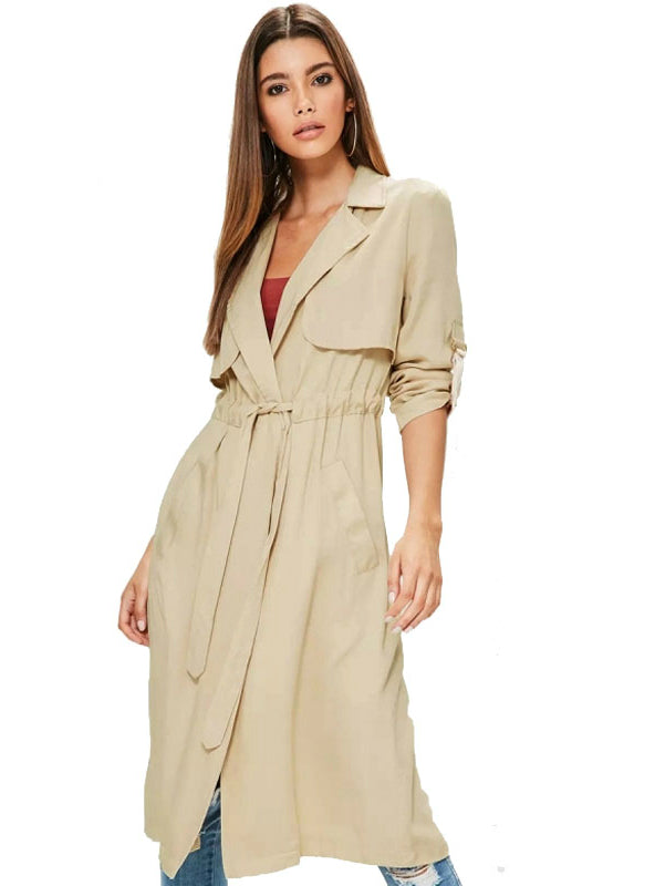 Coat Turn-down Collar Long Trench Coat Solid Beige