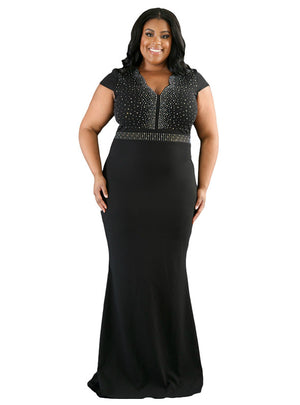 Rhinestone Front Bodice Scalloped Neckline Maxi Dress