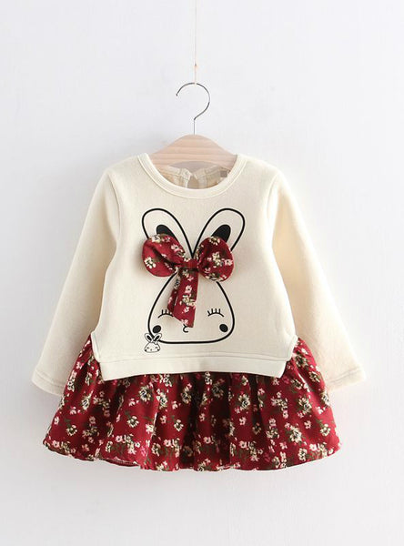 Cute Rabbit and Flowers Printed Girls Long Sleeve Dress