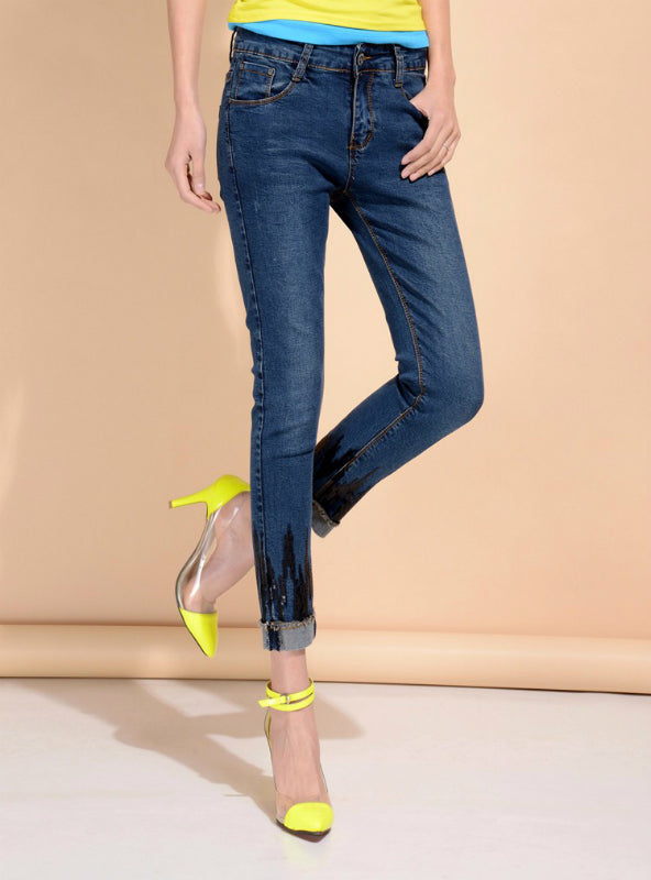 High Waist Sequin Ankle Length Skinny Jeans