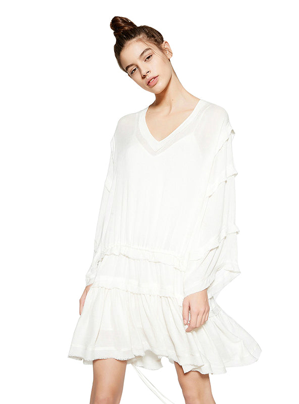 White Sweet Mini Dress V-neck Full Sleeve Ruffle