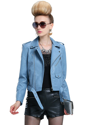 Leather Female Loaded Short PU Leather Coat