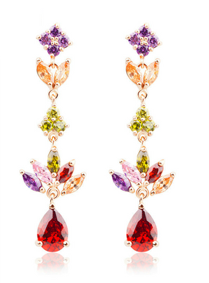 Dangle Earrings with Multicolor AAA Zircon Stone