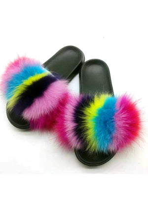 Flip Flops Casual Raccon Fur Sandals Furry