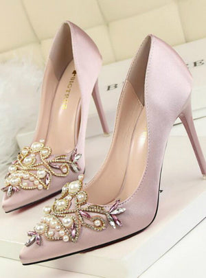 Rhinestone Crystal Shallow Fashion Faux Silk Satin Stiletto