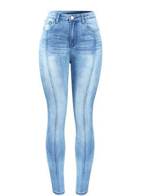 High Waist Patchwork Jeans Woman Stretchy Denim Pencil