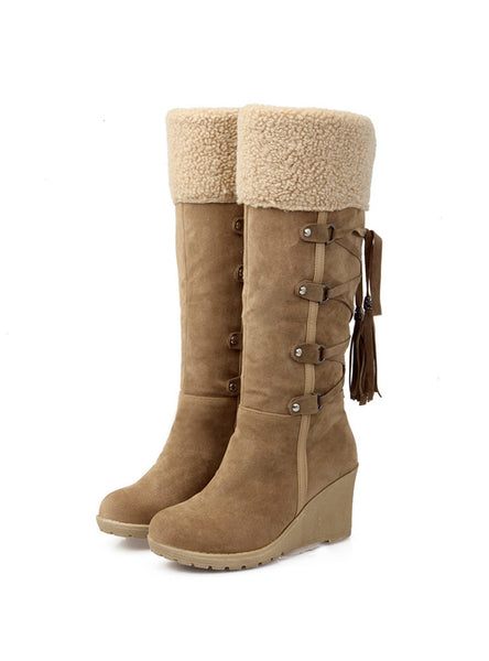 Scrub Plush Snow Boots Women Wedges Knee Boots