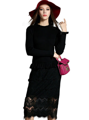 Lace Patched Sweater Calf Length Dress Female