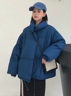Winter Jacket Women Stand Collar Solid Female Down Coat