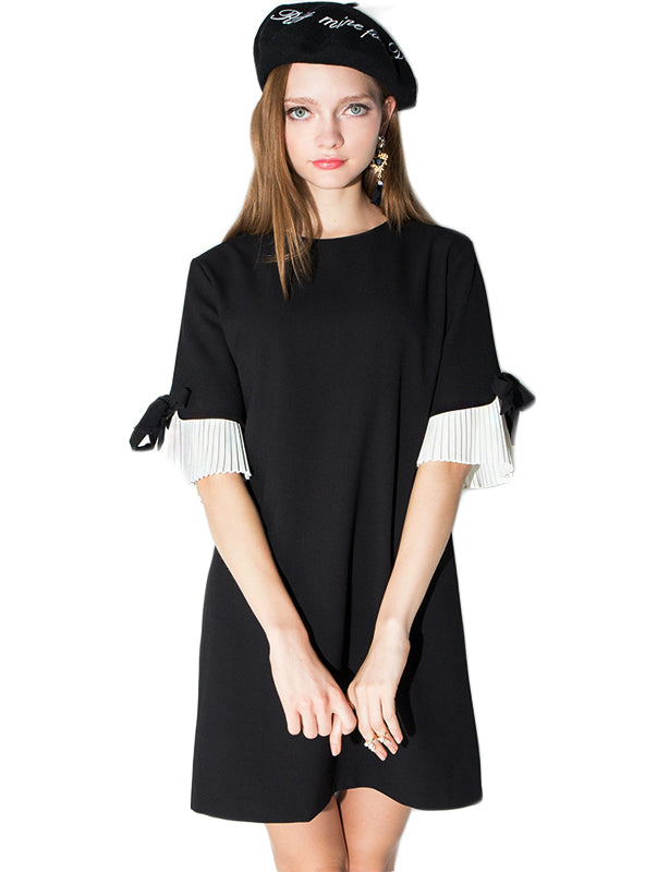 Bow Sleeve Casual Elegant Summer Ladies Black Dress
