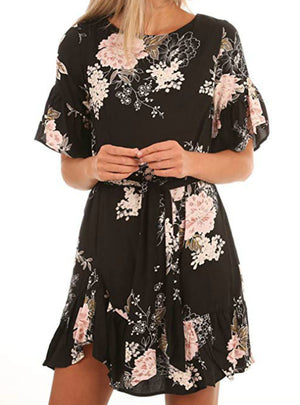 Floral Pattern Ruffle Hem Chiffon Dress