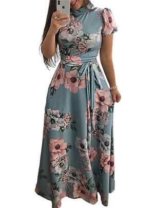 Floral Print Boho Style Short Sleeve Bandage Party Dress