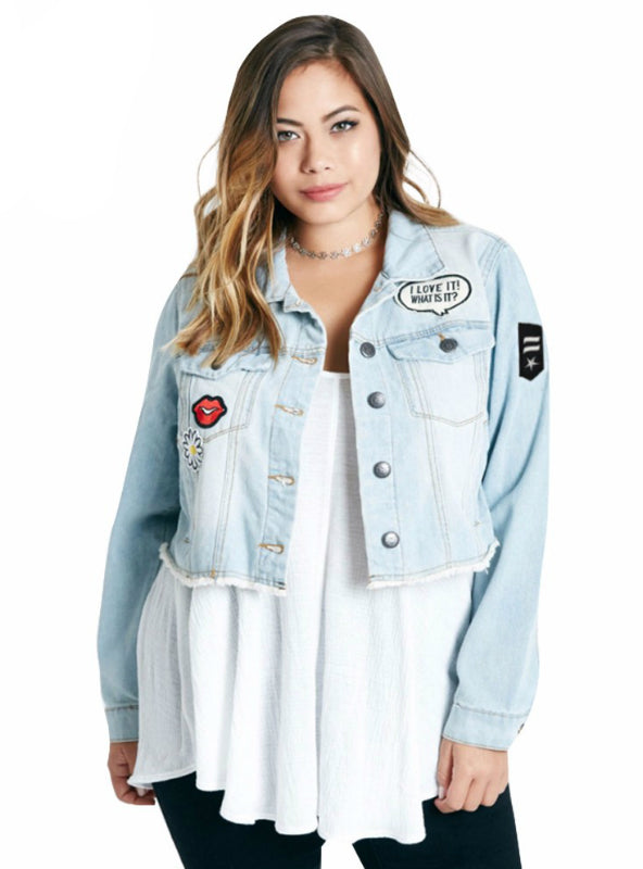 Short Denim Jacket Coats with Patches Button Down