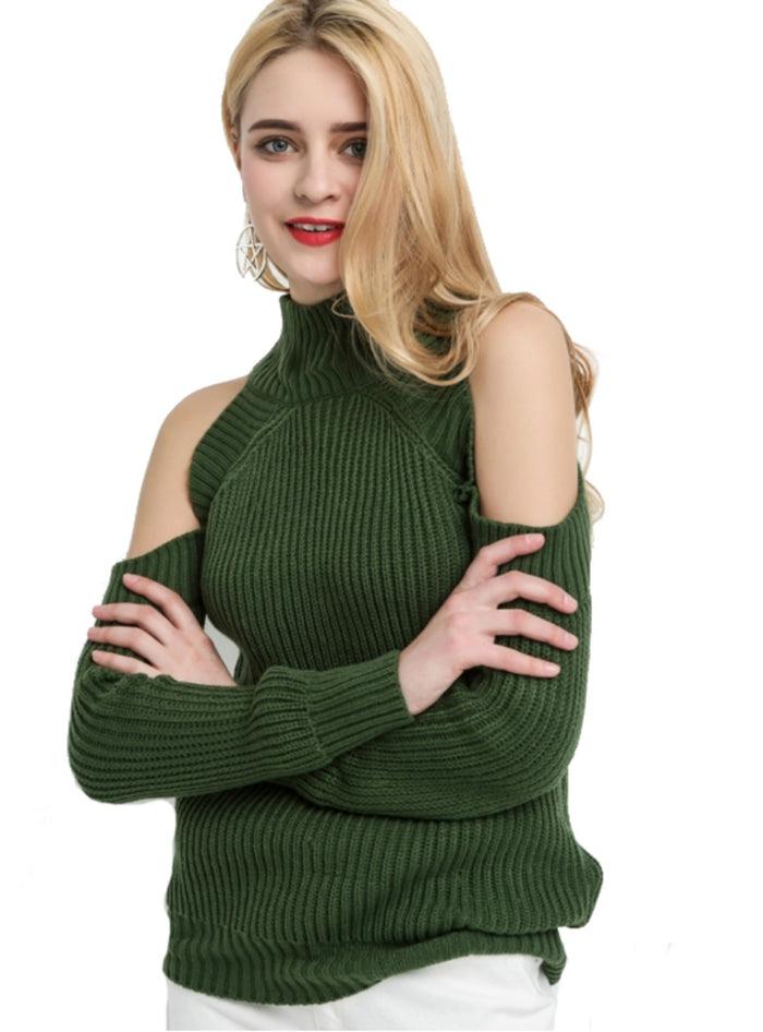 High Neck Cold Shoulder Long Sleeve Sweater