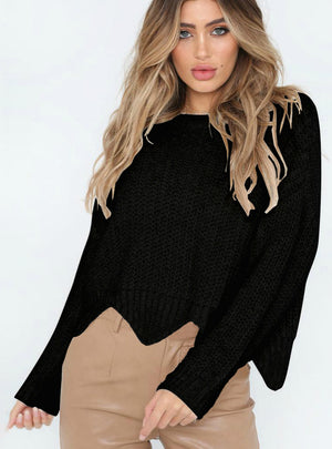 Crew Neck Irregular Loose Sweater Women