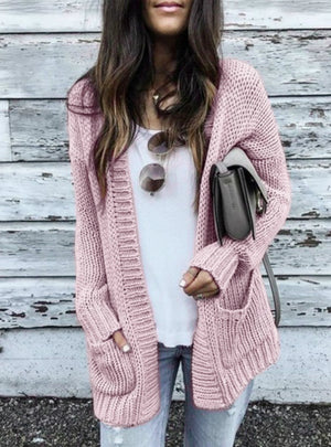 Women Smooth Knitted Sweater Pocket Design Cardigan