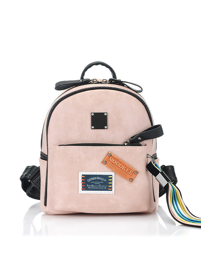 Appliques Patchwork Mini Leather Backpack