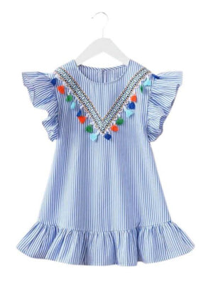 Summer Girls Tassel Flying Sleeve Dresses Stripe