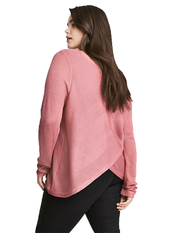 Asymmetry Sweater Long Sleeve Solid Cirss Cross