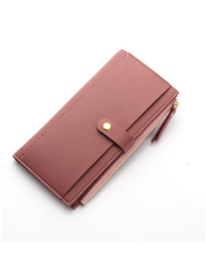 Women Wallet PU Leather Long Solid Zipper Wallet