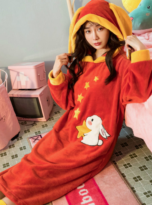 Red Rabbit Long Sleeve Hooded Coral Fleece Bathrobe