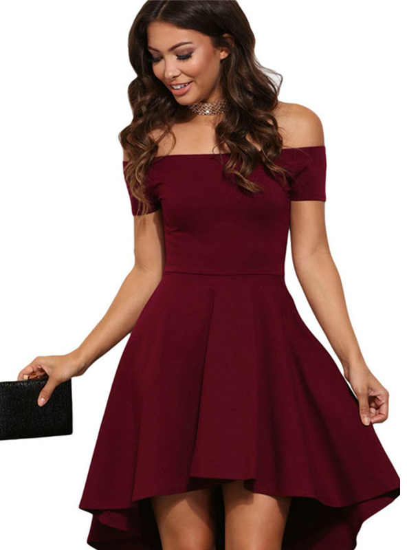 Off Shoulder Party Dresses Burgundy&Blue Midi Dress