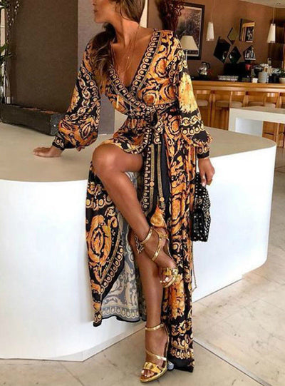 Sexy Boat Neck Glitter Deep V Neck Print Party Dress