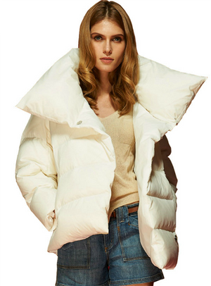Down Jacket Asymmetrical Short Warm Coats Outwear