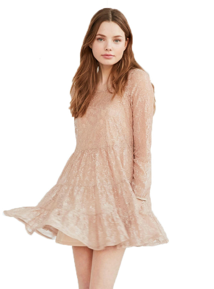 Sweet Mini Lace Dress Light Pink Tie Long Sleeve
