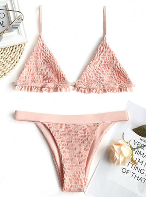 Women Bralette Smocked Ruffles Bikini Set Swimwear