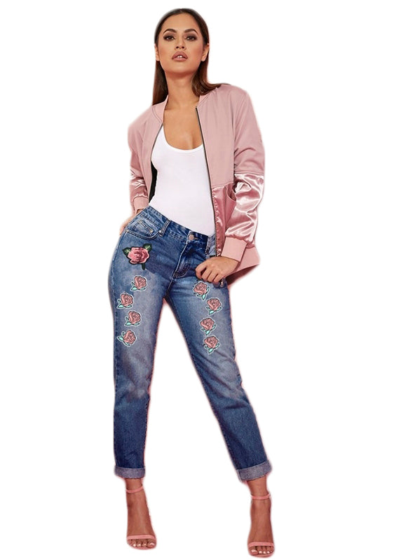 Floral Embroidery Blue Jeans Women Button