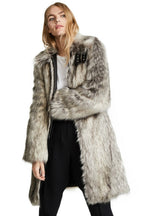 Punk Style Wolf Pattern Faux Fur Coat