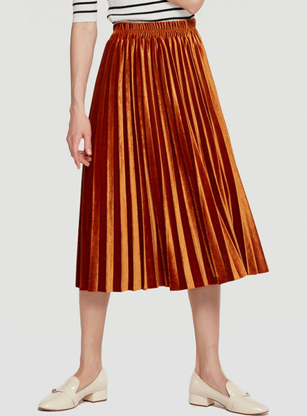 Women's Velvet Pleated Skirt With High Waist