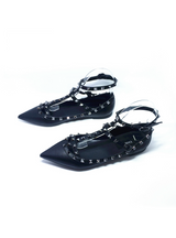 Rivet Flats Shoes Genuine Leather Metal Ankle Strap