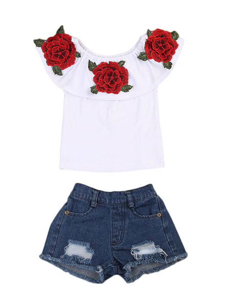 3D Flower Print T-Shirts Denim Hole Pants 2pcs