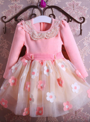 Pearls Bow Flowers Girl Party Dress Wedding
