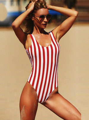 Stripe Bikini Push Up Jumpsuit Bathing Suit Beach