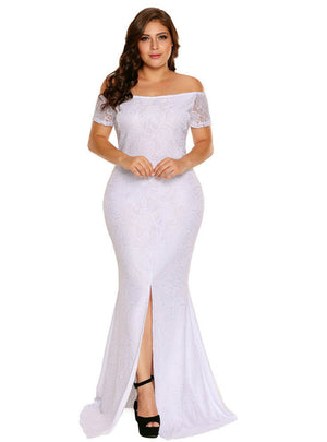 Lace Dress Long Pink Plus Size Off Shoulder Lace Gown