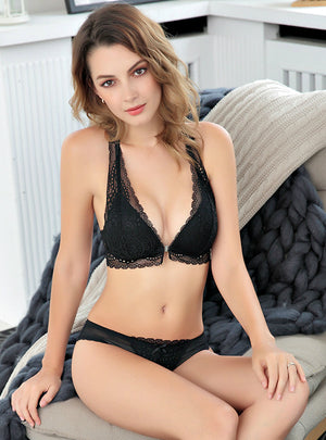 Breathable Steel Ring Free Lace Front Buckle Bra Set