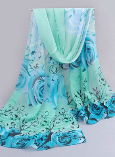 Flowers Roses Scarves Printed Chiffon Polyester Scarves