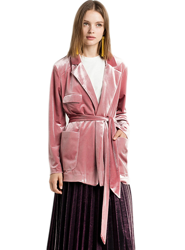 Pink Velvet Coat Suit Jacket Female Tie Waist